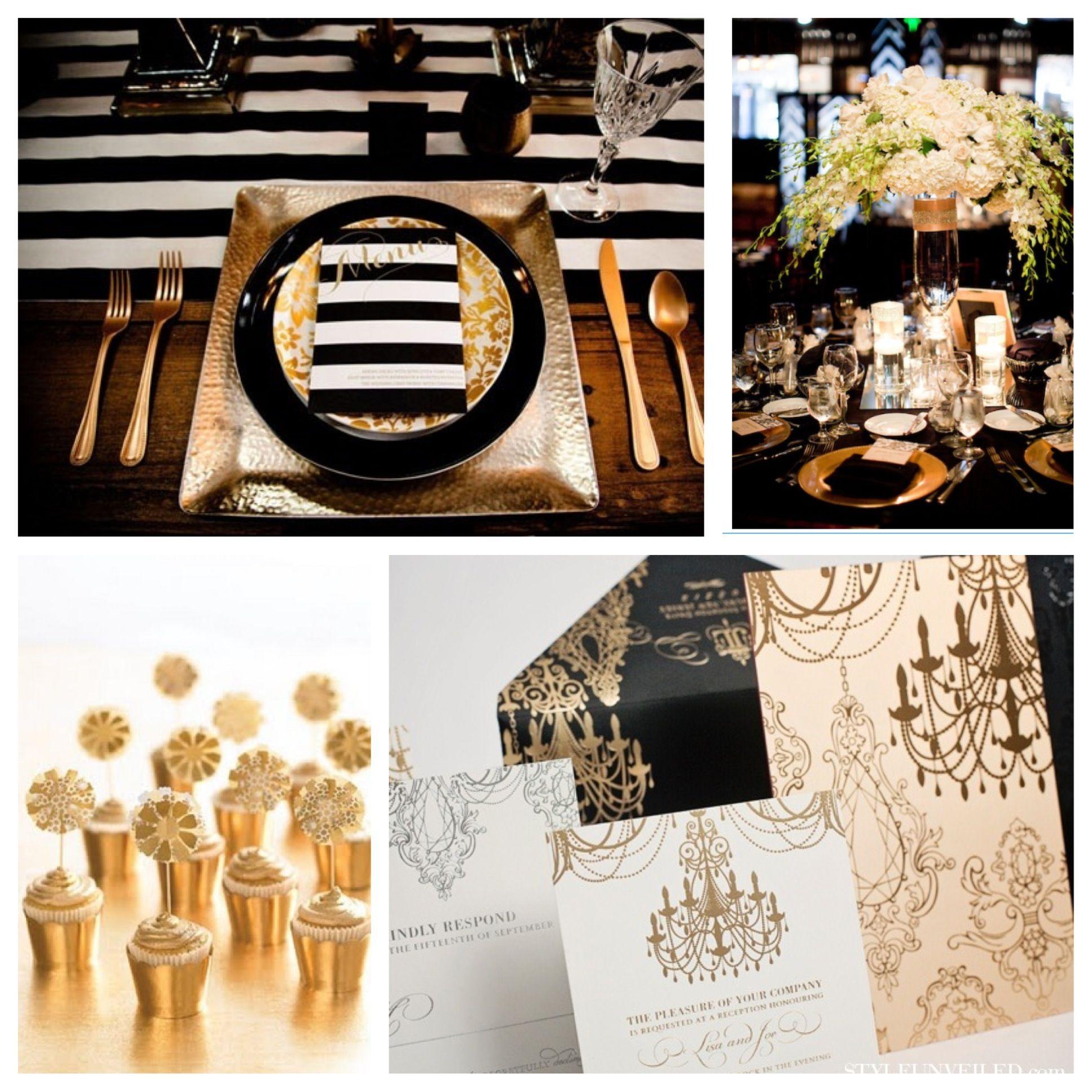 Black And Gold Wedding Reception Decorations: Gatsby/Glam Wedding Theme