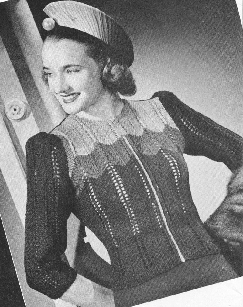 Vintage 1940s Zip Front Multi Color Cafe Society Sweater Knitting ...