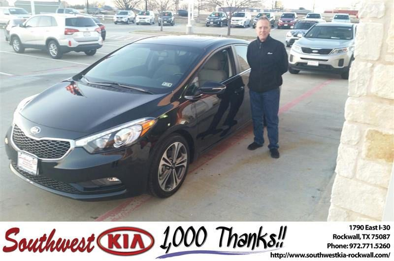 https://flic.kr/p/D85Unq | Happy Anniversary to David on your #Kia #Forte from James Adams at Southwest KIA Rockwall! | deliverymaxx.com/DealerReviews.aspx?DealerCode=TYEE