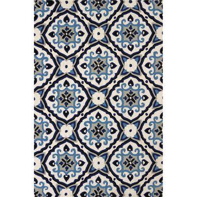 8 x 10 Large Mosaic Medallion Navy Blue Outdoor Rug - Atrium