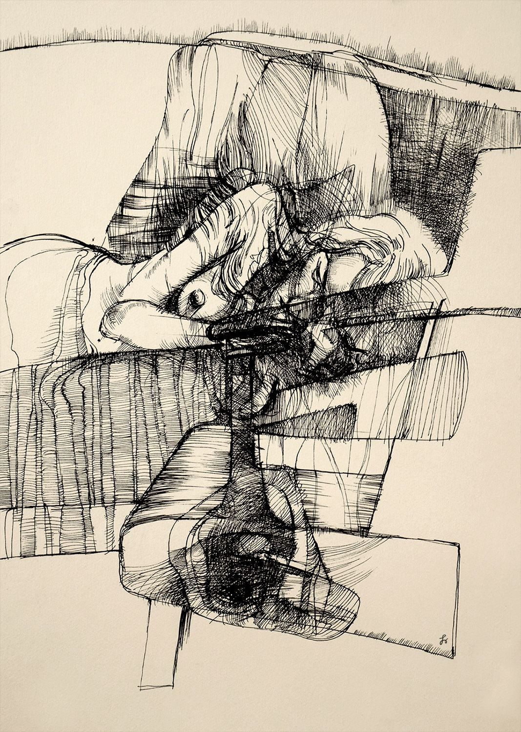 The sleeping woman by tymon wodnicki drawing ink people nude female