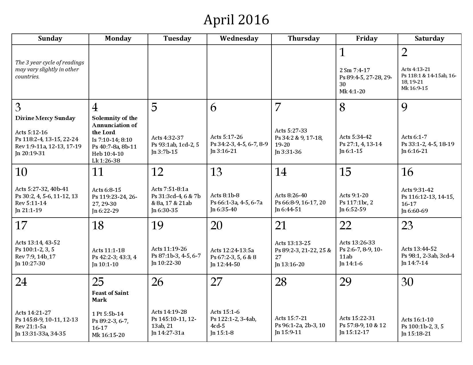 Calendar daily reading mass readings calendar