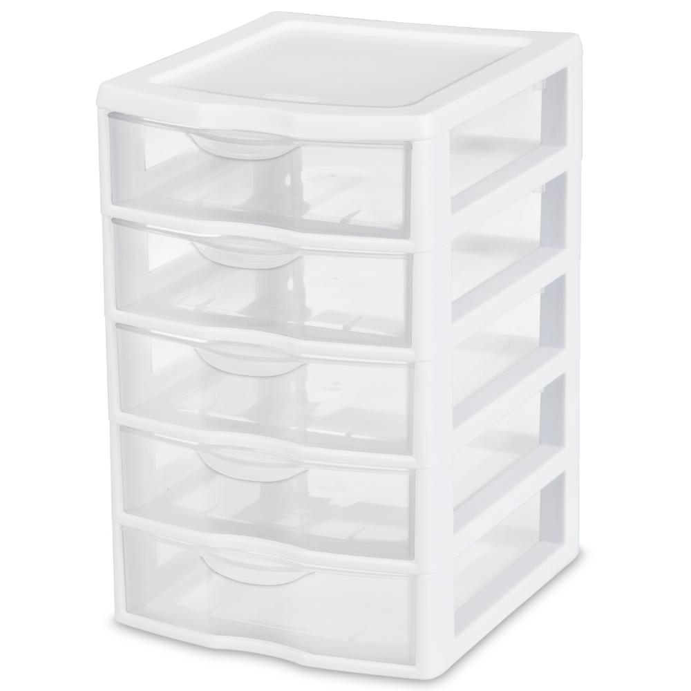 Sterilite Small 5 Drawer Unit White Walmart Com Plastic Storage Cabinets Drawer Unit Plastic Storage Drawers