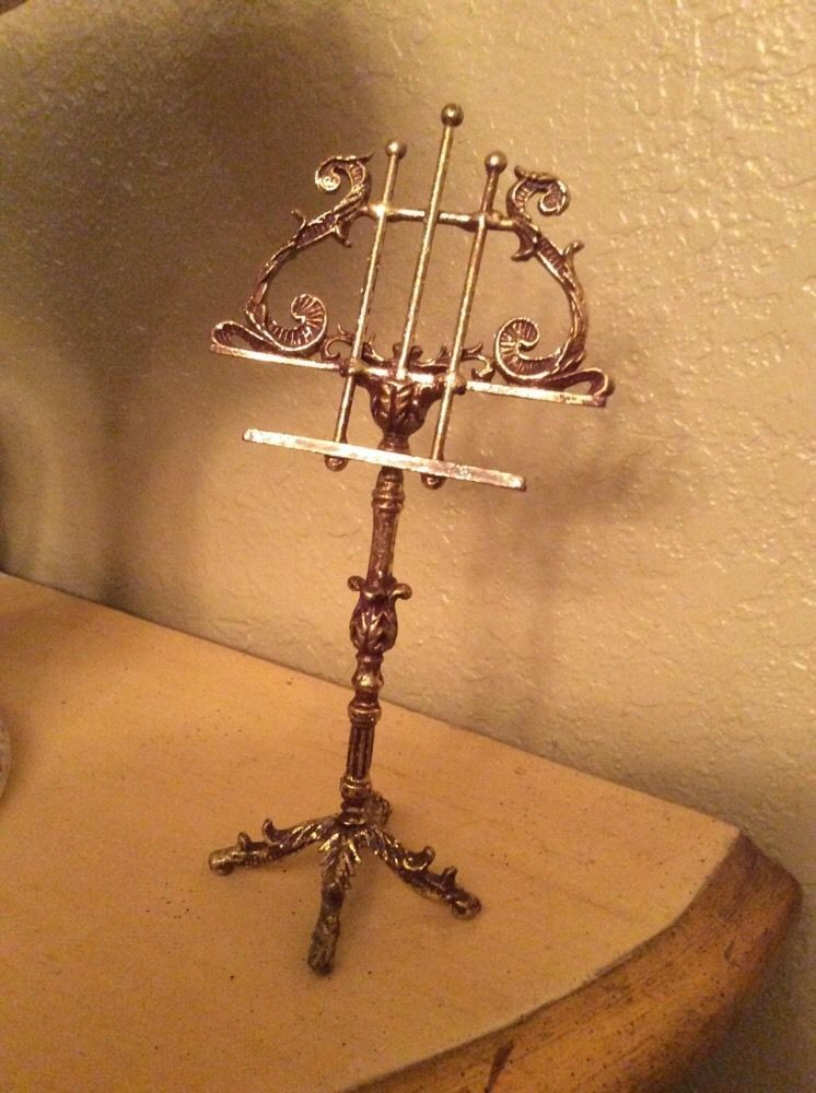 Buy now $45 Vintage Regency Gold Lyre Music Stand Business Card ...