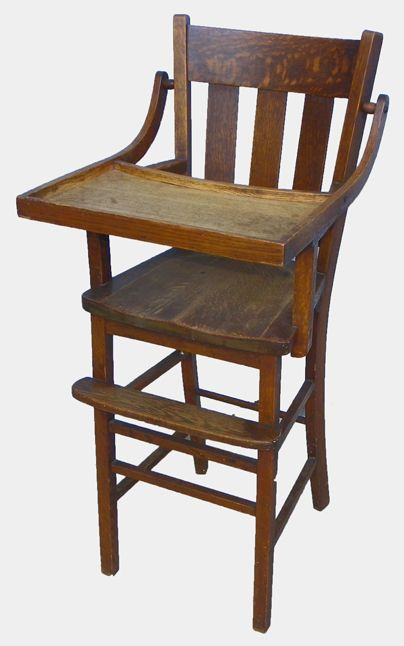 Mission Oak High Chair with tray - Antique Mission Oak High Chair With Tray Furniture-Chairs