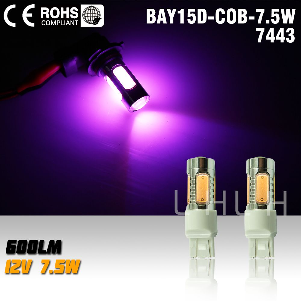 2x T20 7 5w 12v Led Car Light Source 7443 Led Auto Brake Bulbs W21 5w Parking High Power Car Led Lamp Pink Car Led 12v Led Brakes Car