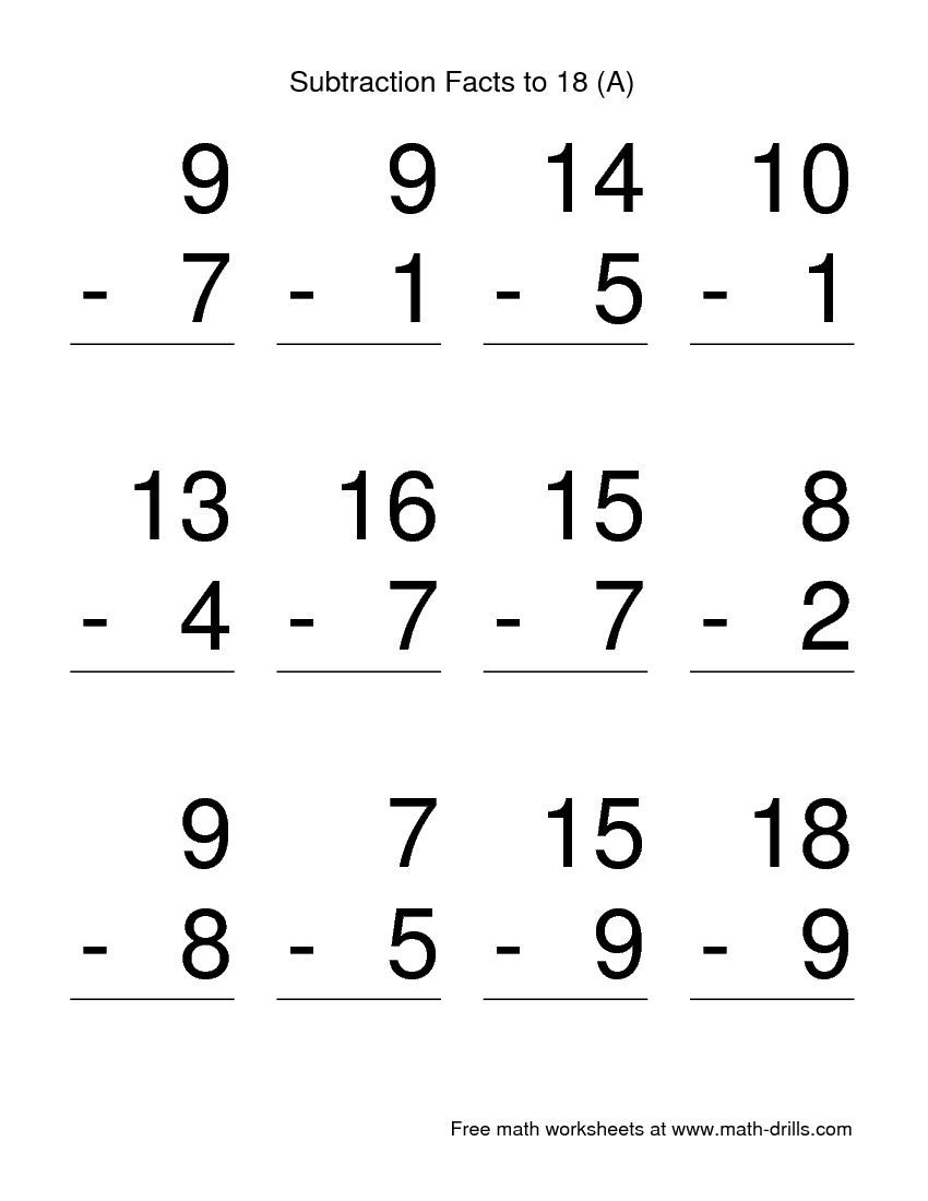 Workbooks subtraction fact worksheets : Vertical Subtraction Facts to 18 -- Large Print (A) | pollitos ...