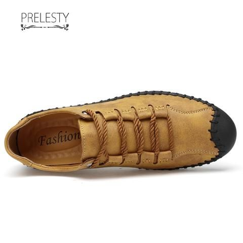 Prelesty Latest Mode Handmade Premium Cow Leather Shoes Men Casual Soft Sneaker Cap Toe Protect