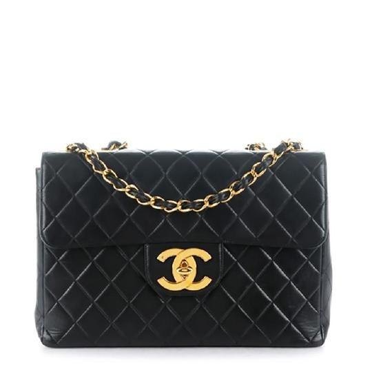 76b92a1e7cbc Chanel Classic Flap Quilted Xl Jumbo Black Lambskin Leather Shoulder Bag -  Tradesy