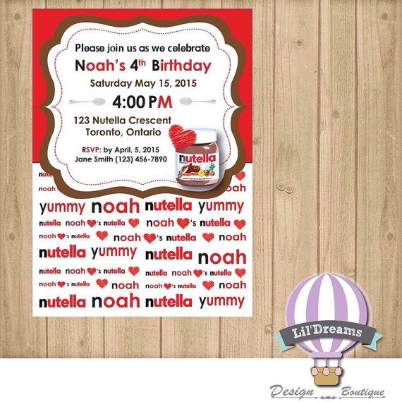 Nutella birthday invitation jpeg or pdf by lildreamsdesign nutella birthday invitation jpeg or pdf by lildreamsdesign stopboris Image collections