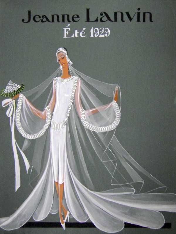 Jeanne Lanvin wedding dress illustration, Summer 1929. | Jeanne ...
