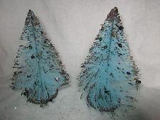 Vintage Blue Bottle Brush, Decorated Christmas Tree Holiday Decorations