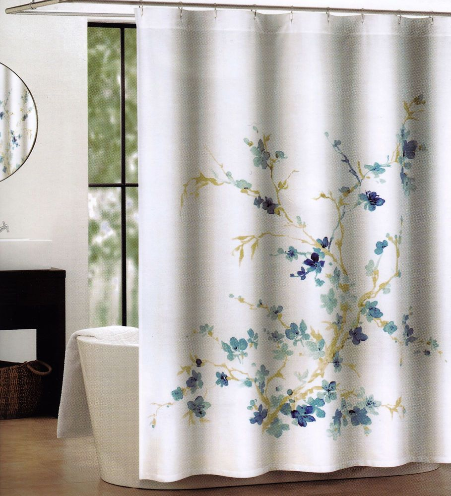 Details Tahari Fabric Cotton Blend Shower Curtain Printemps
