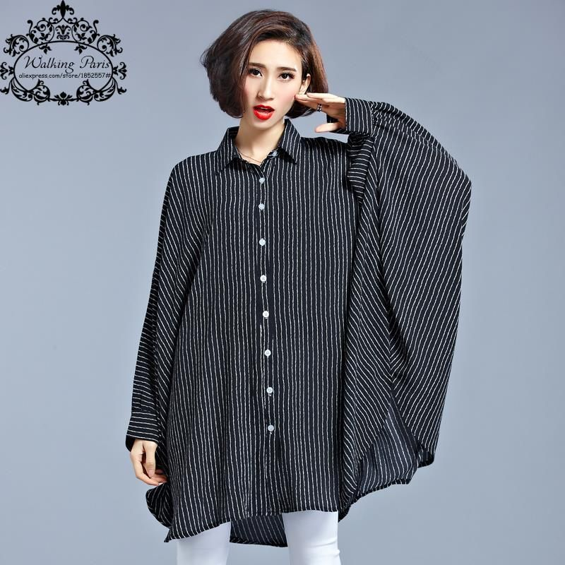 Plus Size Chiffon Blouse Women Dresses Big Size Spring Striped Print