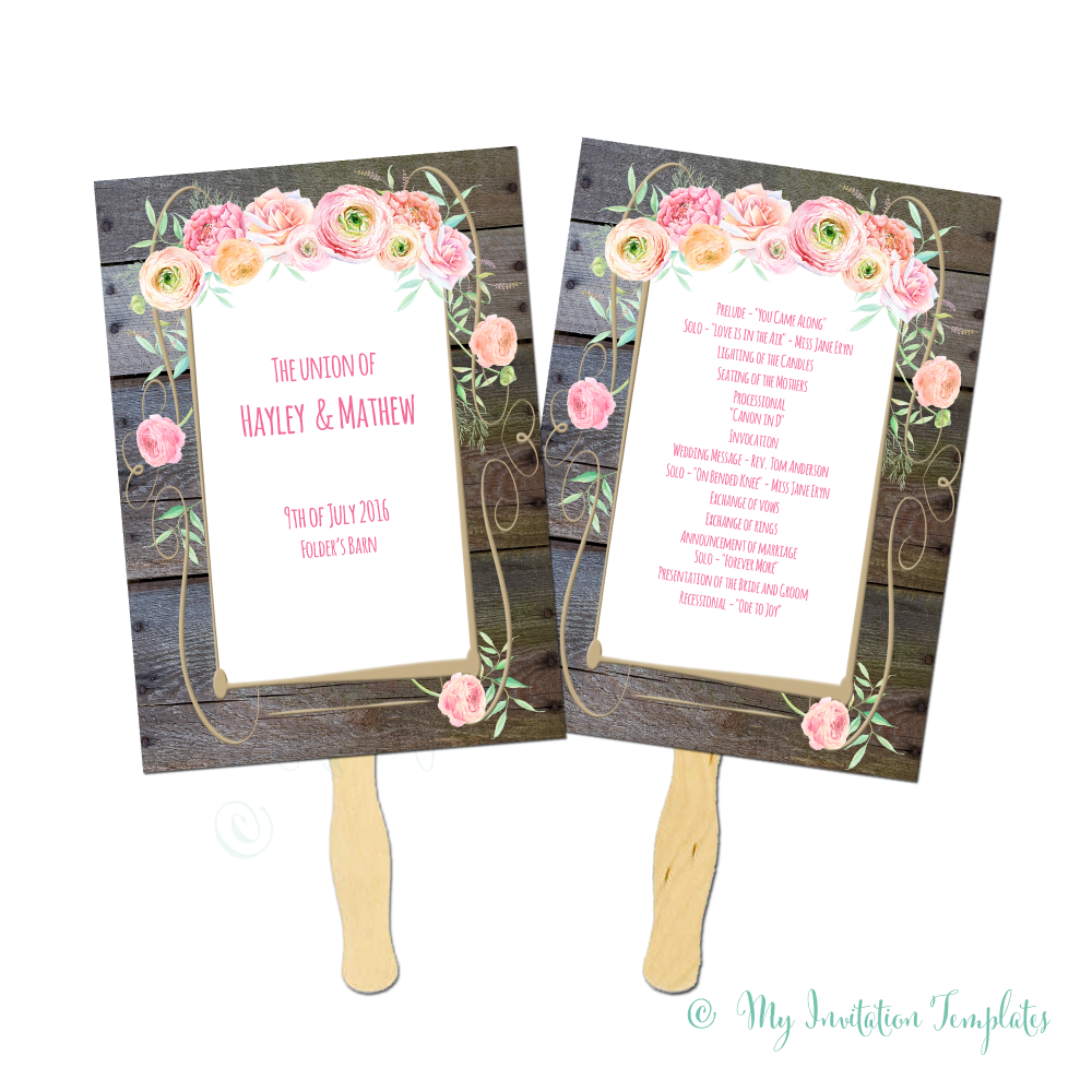 Rustic fan program Template with flowers and wood background ...