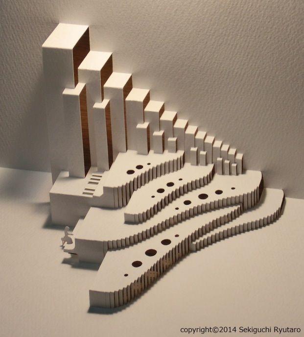 Piano origamic architecture pop up card kirigmi for Kirigami paper art