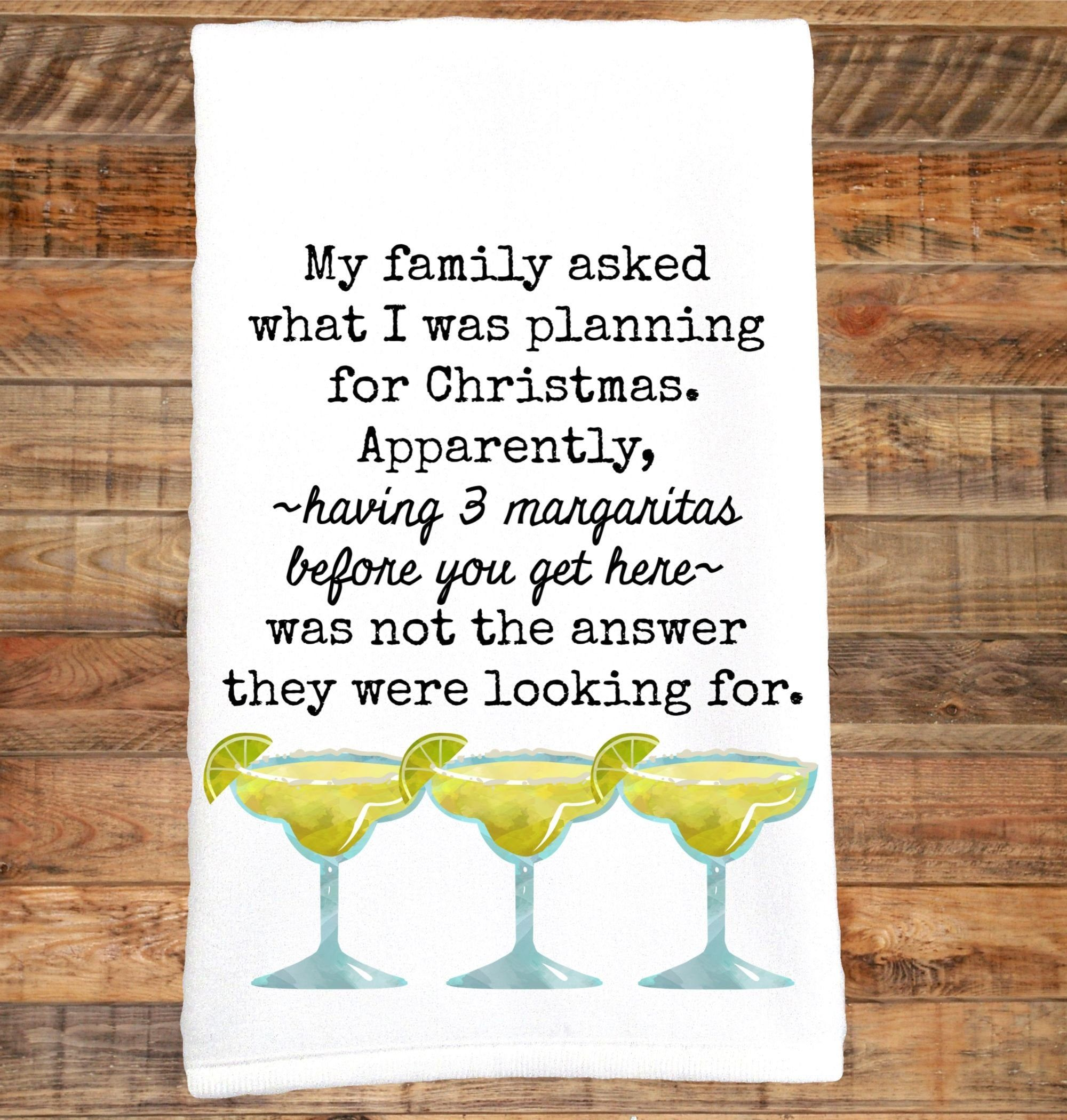 Christmas Margarita Towel, Funny Towel, Margaritas, Margarita, Cocktails, Snarky Towel, Christmas Hostess Gift, Dish Towel, Tequila Drinker #christmasmargarita