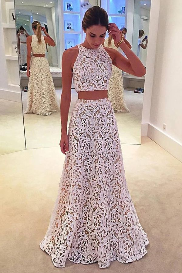 prom dresses,2017 prom dresses,white 2 pieces prom dresses,lace ...
