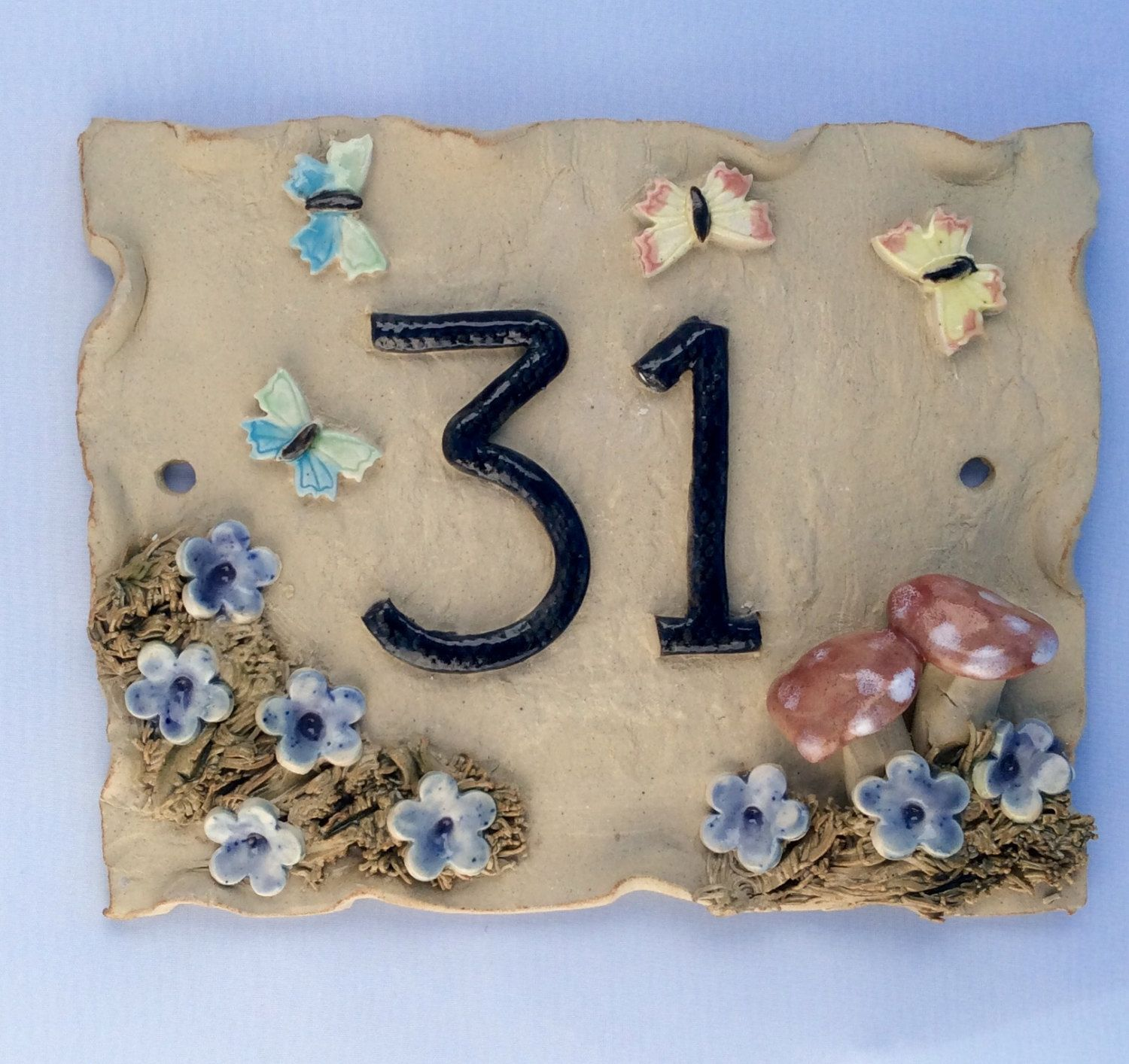 House number plaque mushroom and butterfly design door number by items similar to house number plaque ceramic door number address plaque dailygadgetfo Gallery
