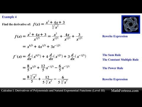Calculus I: Derivatives of Polynomials and Natural Exponential Functions...