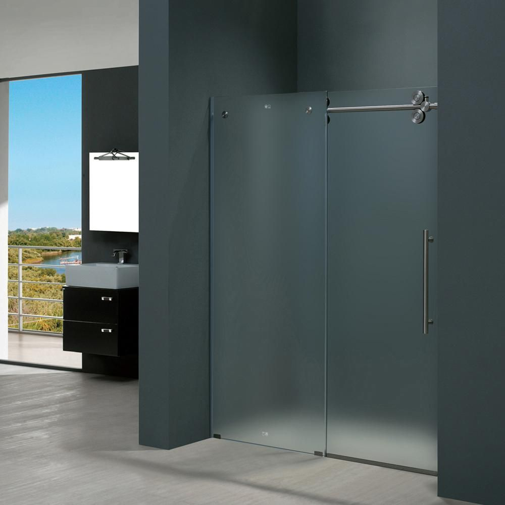 Vigo elan 60 in x 74 in frameless bypass shower door in stainless steel with frosted glass