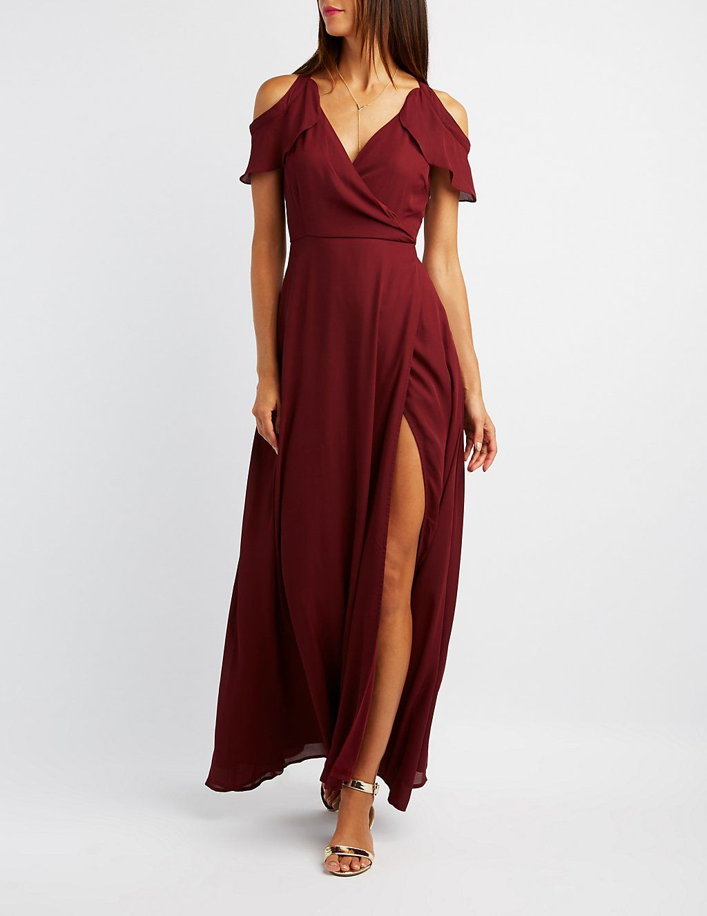 Cold Shoulder Ruffle Surplice Maxi Dress Charlotte Russe Long Sleeve Evening Gowns Long Sleeve Gown Maxi Dress [ 1326 x 1024 Pixel ]
