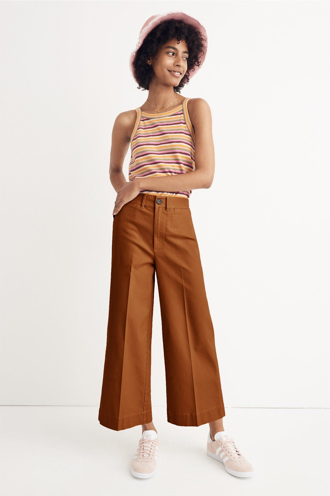 8a4a417d7c4 madewell striped tank top worn with the emmett wide-leg crop pants + canvas  bucket hat. call 866 544 1937 or email shopfirst madewell.com to pre-order.