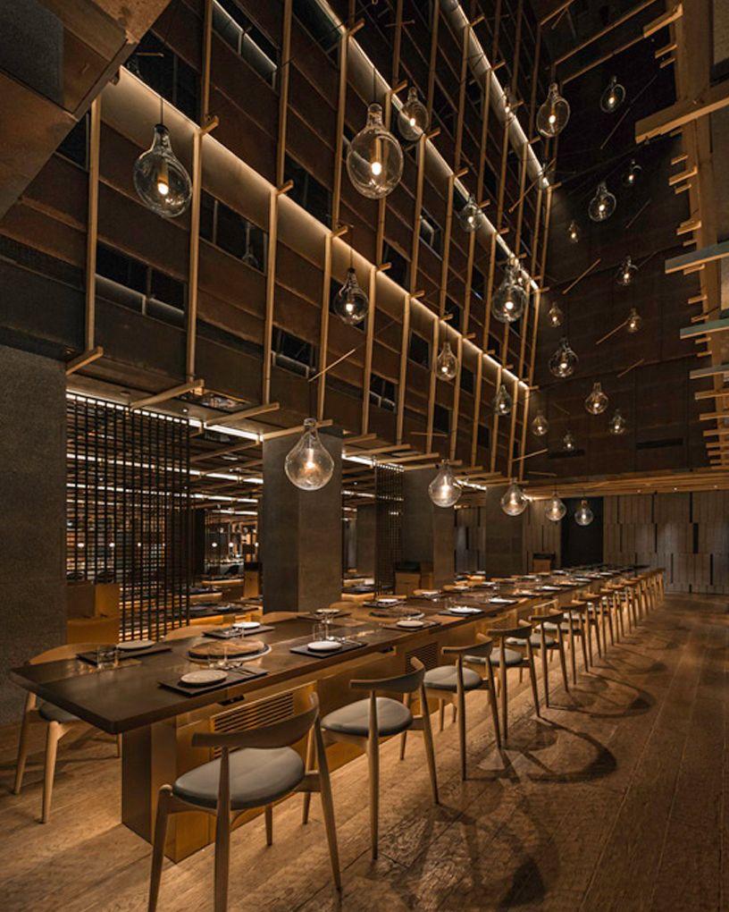 neri & hu evokes an abstract landscape in chi-q korean restaurant in  shanghai