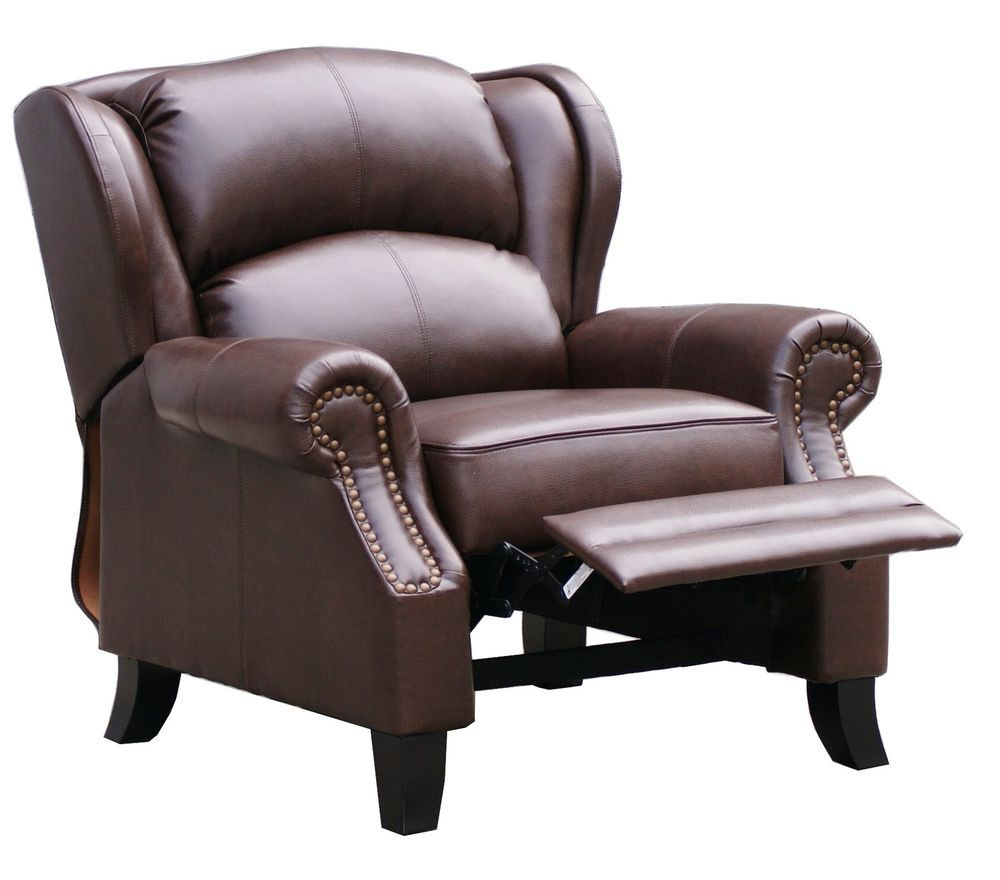 WINGBACK RECLINER  /3 POSITION /  PREMIUM BONDED LEATHER / DK BROWN /NO RESERVE