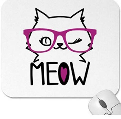 Cute Officedesk Ideas: Meow Winking Cat With Cute Pink Glasses Office Desk