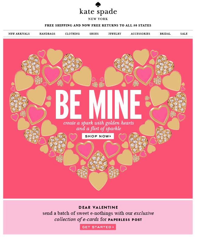 Newsletter From Kate Spade Valentine S Day Product Newsletter