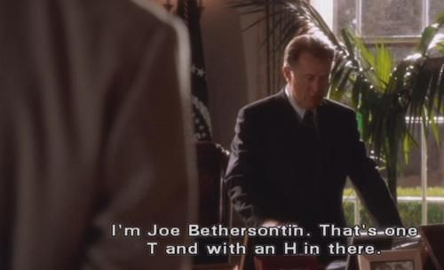 Season 3: Indians in the Lobby.  President Bartlet calls the Butterball hotline.