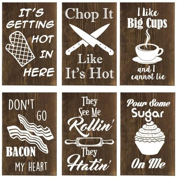 Mix And Match Set Of 6 Funny Wood Kitchen Signs These Humorous