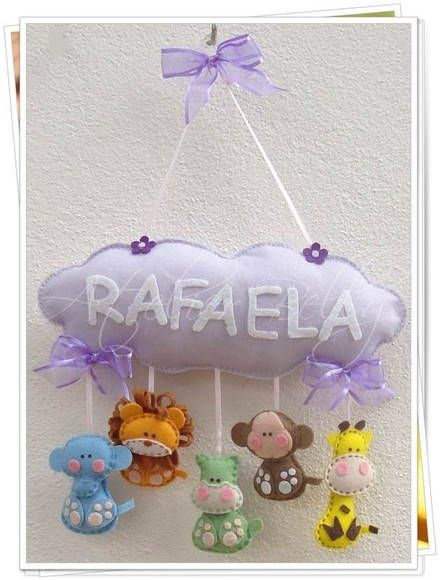 "little girl name ""cloud"" w/baby animals (in pastels) dangling from the cloud, in felt"