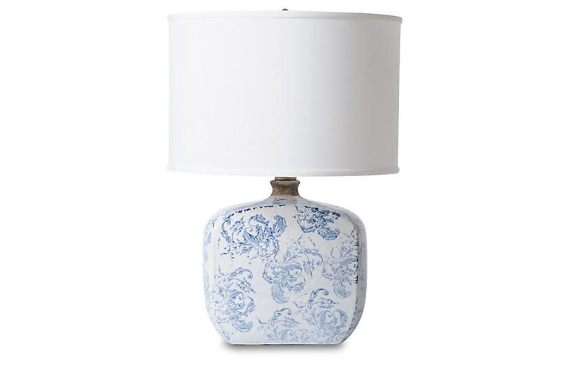 Patterned Asian Table Lamp   Blue/White   Barbara Cosgrove