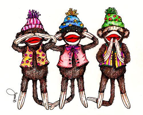 Pop Art Minis A Silly Sock Monkey Trio See No Evil Hear No