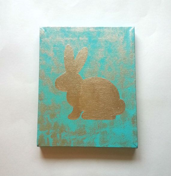 Gold bunny rabbit acrylic canvas painting for trendy by StarrJoy16, $25.00