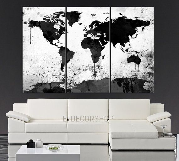 Large Black White World Map Canvas Print - 3 Piece Watercolor Splash ...
