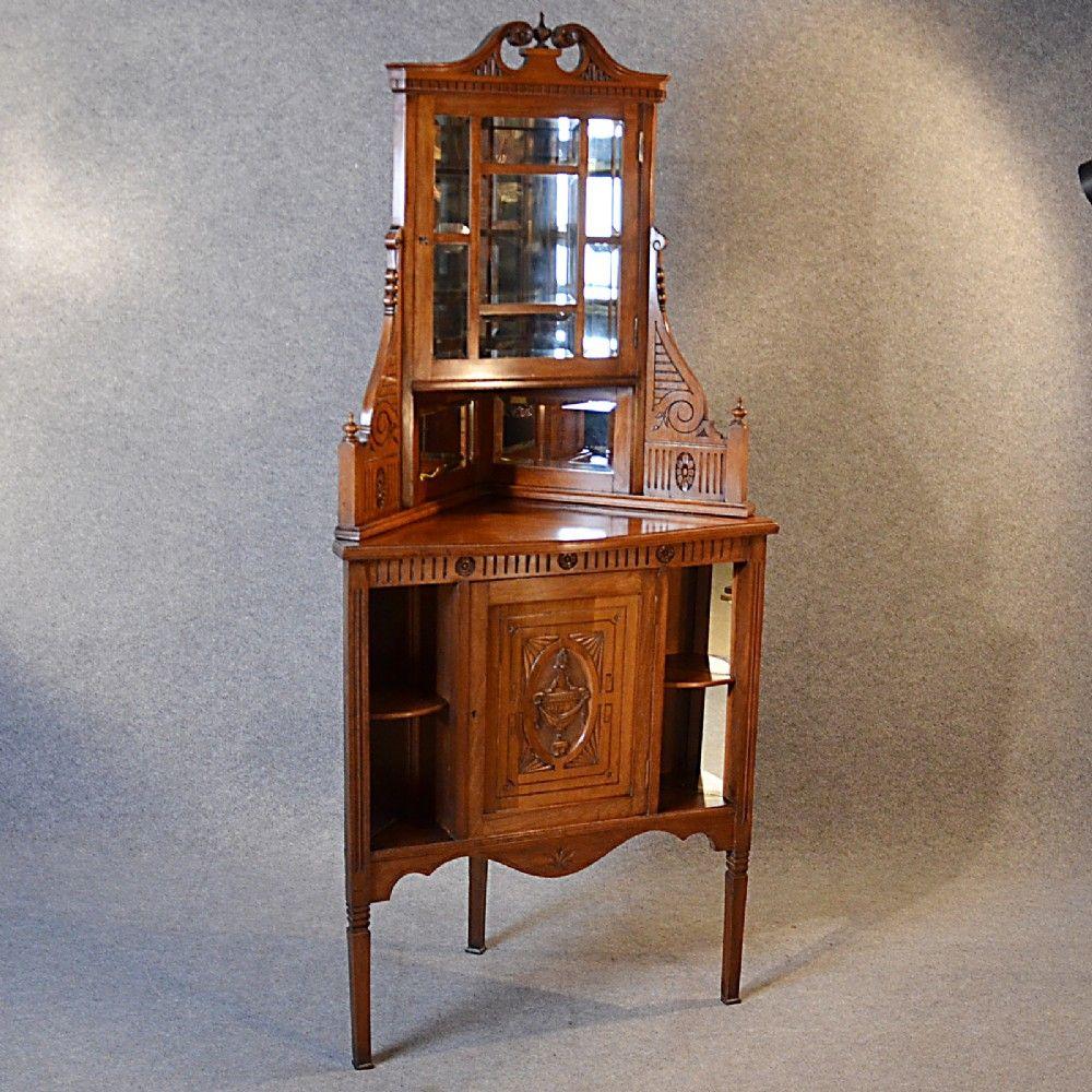 Antique Corner Cabinet China Display Cupboard Victorian Walnut English c1880 - Antique Corner Cabinet China Display Cupboard Victorian Walnut