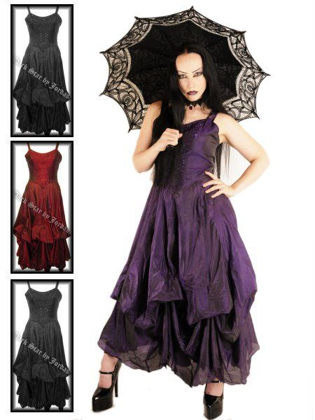 Long Silk Gothic Summer Dress Las Clothing Witch Outfit Vampire
