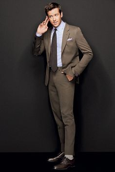 Armie Hammer, perfect height | Wedding suits men, Brown ...
