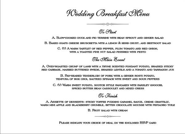 Images Of Wedding Menu Selection Cards Google Search