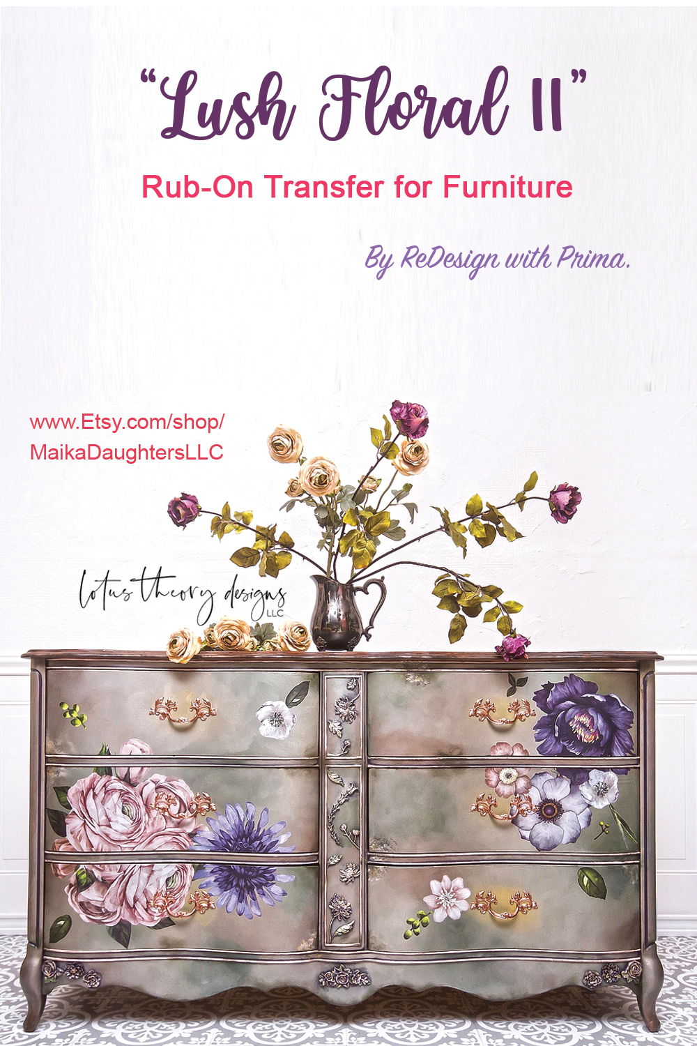 Furniture transfer decal Same Day Shipping! Lush Floral I Decal Transfer by Redesign Decor Prima