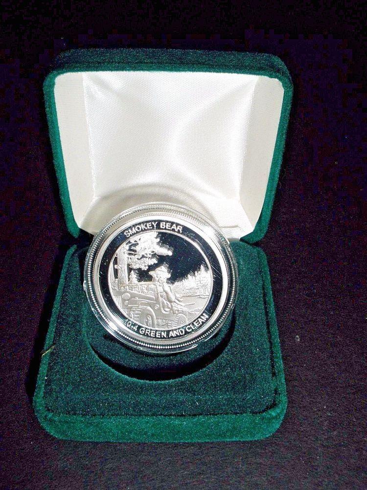 Smokey Bear Sterling Silver Coin 60 Years Vigilance 10 4