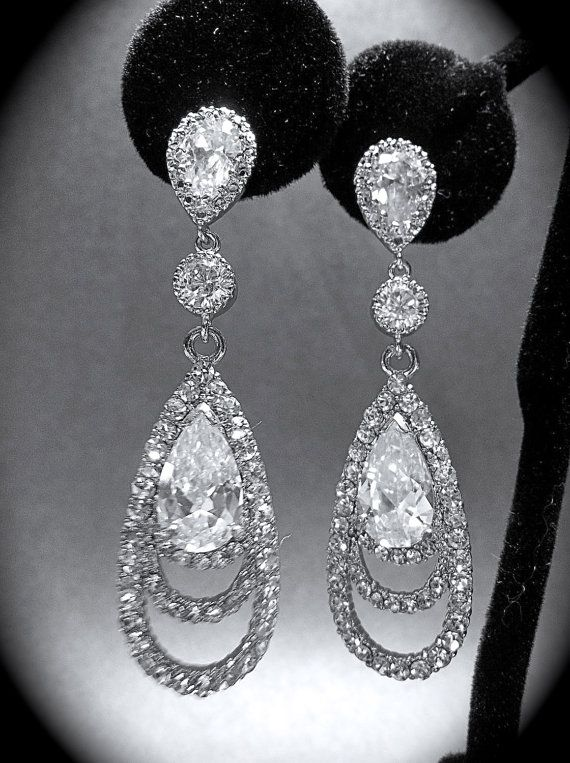 Rhinestone Earrings Long Cubic Zirconia Sterling Silver Ear Wires Bridal Jewelry Bridesmaids Gift Prom Via Etsy
