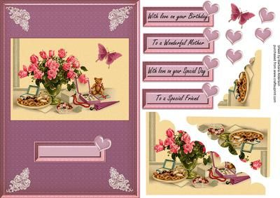 Morning Treats on Craftsuprint designed by Barbara Alderson - corner scallop pyramid topper on a card front with a choice of sentiments including Mother and Special Friend - Now available for download!