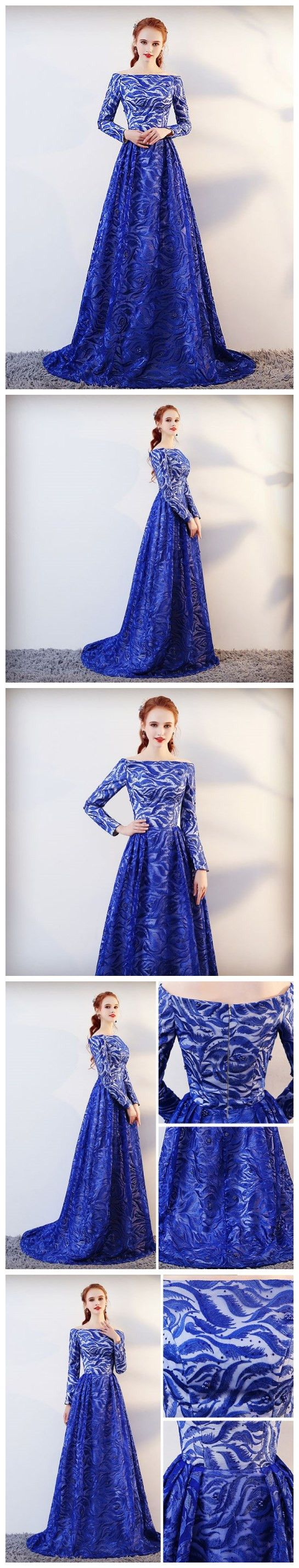 blue prom dresses long bateau lace long sleeve prom dress
