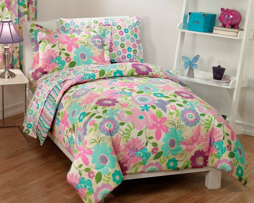 new girls daisy flower butterfly pink aqua bedding comforter sheet set twin ikea bed sets walmart