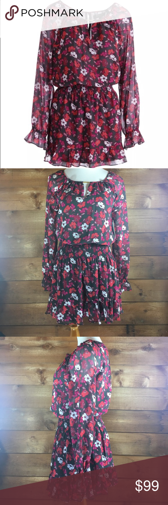 Juicy Couture Floral chiffon dress poppies posies Juicy Couture Top hat  poppies-n-posies