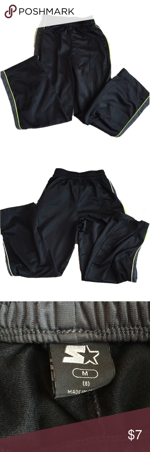 Starter athletic pants Black athletic pants with green stripe down leg. GUC with only minor washwear Bottoms Sweatpants & Joggers